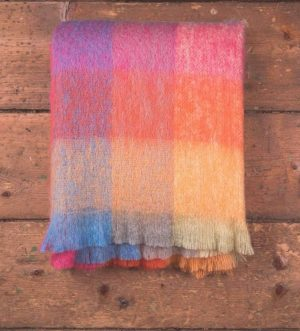 -Foxford Colour Block Mohair Throw