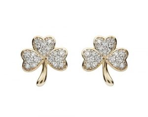 Shanore 14K Diamond Shamrock Stud Earrings