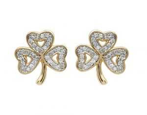 Shanore 14K Diamond set Shamrock Stud Earrings