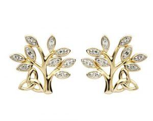 Shanore 14K Diamond Tree Of Life Earrings
