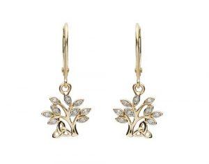 Shanore 14K Diamond Drop Tree of Life Earrings