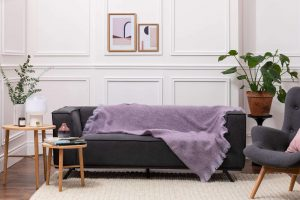 Foxford Heather & Purple Mohair Throw