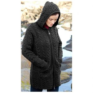 Galway Charcoal Coat With Celtic Knot Zipper