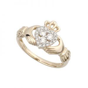 Solvar 14K Diamond Claddagh Ring S21018