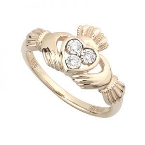 Solvar 14K Diamond Claddagh Ring S21021