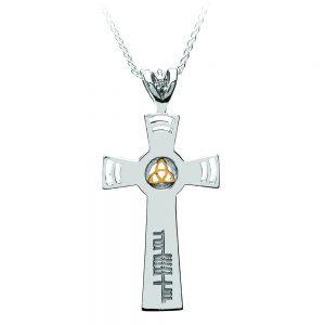 Boru Ogham Inscribed Cross 18K Gold Trinity
