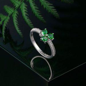 Solvar Green Cubic Zirconia Shamrock Ring S21039