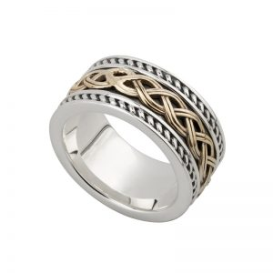 Solvar Gents 10K Gold & Silver Celtic Knot Ring S21047