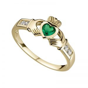 Solvar 10K Gold Emerald Claddagh Ring S2518