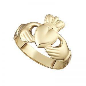 Solvar 10K Hallow Back Gents Claddagh Ring S2990