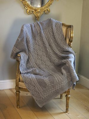 Aran Crafts Grey Fairy Tree Merino Throw