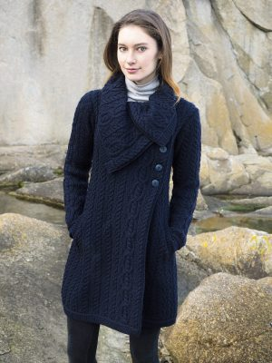 Aran Crafts Chunky Collar Navy Coat x4416