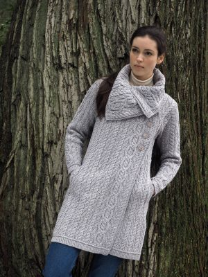Aran Crafts Chunky Collar Soft Grey Coat