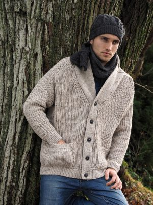 Aran Crafts Ribbed Gents Oatmeal Cardigan Sh4627