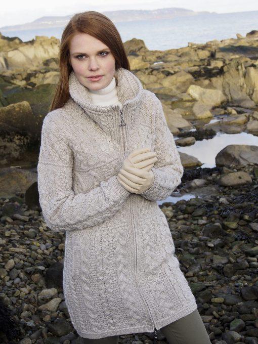 Aran Crafts Double Collar Sweater Coat x4263