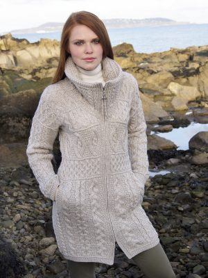 Aran Crafts Double Collar Sweater Coat x4263