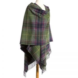 John Hanly Green Purple Check Liz Cape