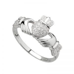 Solvar 14K White Gold Micro Dia Claddagh Ring S2769