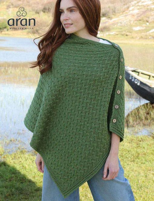 Irish Buttoned Cape Poncho Green Shrug