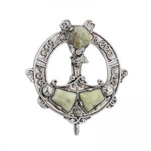 Solvar Connemara Marble Celtic Brooch s1978