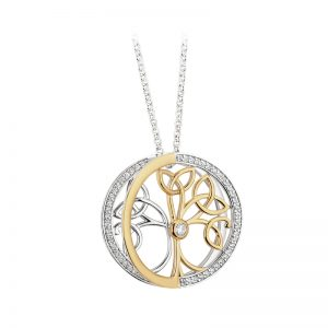 Solvar Sterling Silver & Gold Plated Cz Tree Of Life Pendant S46600