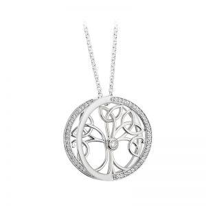 Solvar Sterling Silver Cz Tree Of Life Pendant S46595