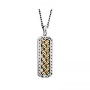 Solvar 10K Gold & Silver Oxidised Celtic Ingot Pendant S46455