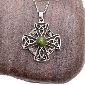 Solvar Rhodium Marble Celtic Cross Pendant s46629