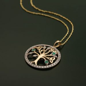 Diamond & Emerald Tree Of Life Pendant S46105
