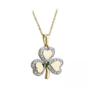 Solvar 14K Gold Diamond & Emerald Irish Shamrock Pendant S46425