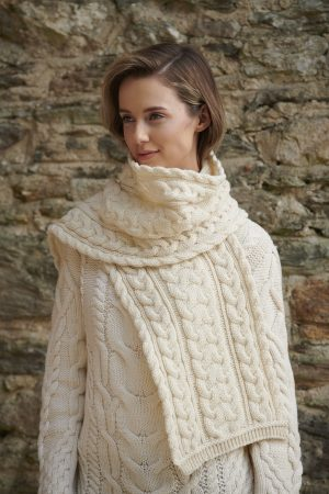 Aran Crafts Cable Knit Chunky Scarf