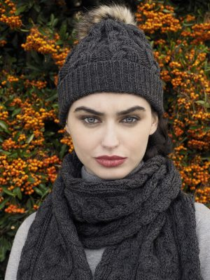 Aran Crafts Cable Knit Charcoal Chunky Scarf