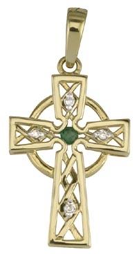 Solvar 14K Diamond Emerald Celtic Cross Charm S8708