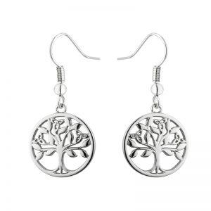Solvar Rhodium Tree Of Life Drop Earrings S33911