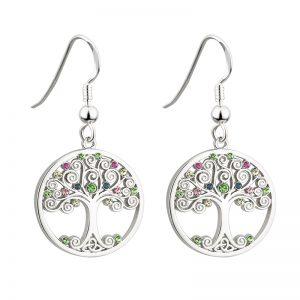 Solvar Rhodium Crystal Tree Of Life Drop Earrings S33400