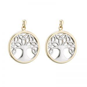 Solvar 14K Two Tone Tree Of Life Drop Earrings S33832
