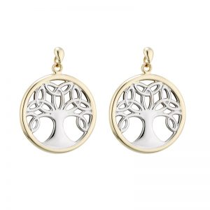 Solvar 9K Gold Two Tone Tree Of Life Drop Earrings S33826