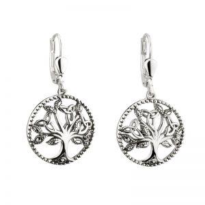 Solvar Sterling Silver Marcasite Tree Of Life Drop Earrings S33894