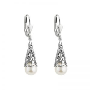 Solvar Sterling Silver Glass Pearl Tree Of Life Drop Earrings S34034