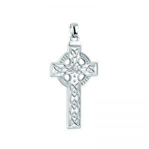 Solvar 14K White Gold Large Celtic Cross Charm S8814