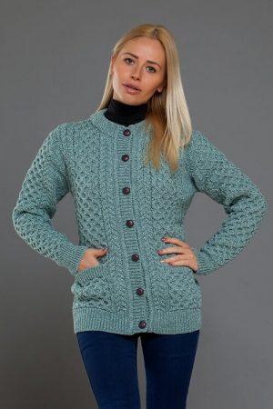 Aran Merino Wool Cable Knit Aqua Cardigan