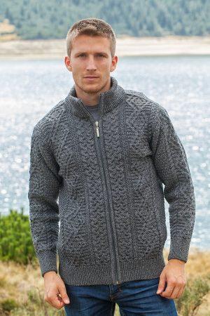 Mens Merino Wool Fisherman Full Zip Cardigan 6031