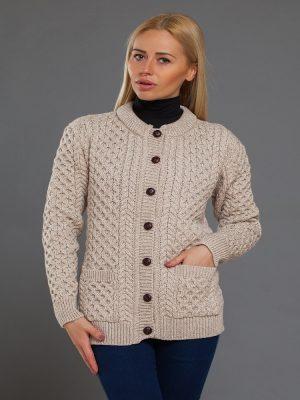 Aran Merino Wool Cable Knit Parsnip Cardigan