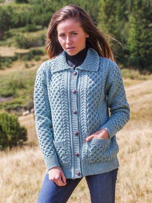 Aran Merino Wool Collared Aqua Cardigan