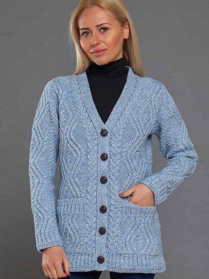 Aran Sky Blue Fitted Long Cardigan
