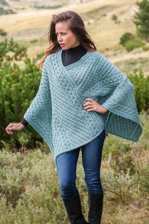 Aran V Neck Aqua Merino Wool Poncho