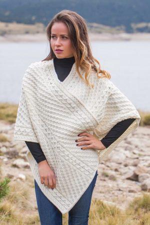 Aran V Neck Natural Merino Wool Poncho