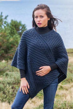 Aran V Neck Ocean Blue Merino Wool Poncho