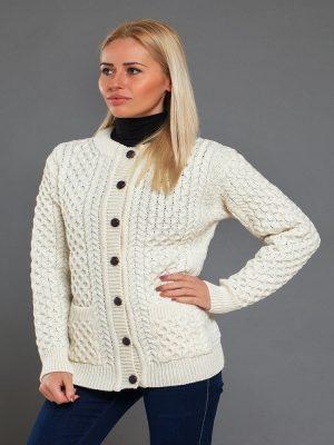 Aran Merino Wool Cable Knit Cardigan