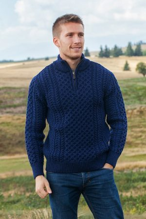 Aran Merino Wool blue Half Zip Sweater 2507